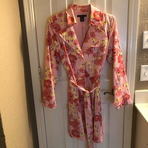 Floral trench coat.